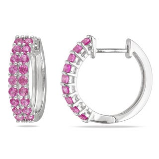 Miadora Sterling Silver Created Pink Sapphire Hoop Earrings