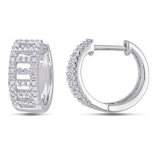 Miadora 10k White Gold 1/3ct TDW Diamond Hoop Earrings