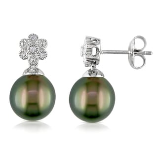 Miadora Sterling Silver Tahitian Pearl and Diamond Accent Earrings (9.5-10 mm)
