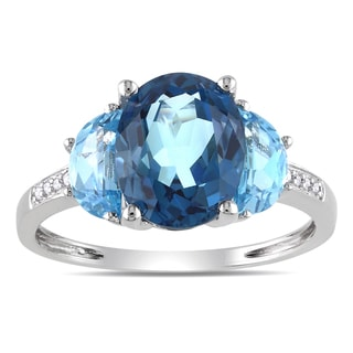 Miadora Sterling Silver 4 1/6ct TGW London Blue Topaz and Diamond Accent Cocktail Ring