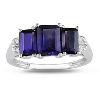 Miadora 10k White Gold Created Blue Sapphire and Diamond Accent 3-stone Ring