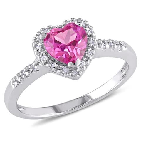 Miadora Silver Created Pink Sapphire and 1/10ct TDW Diamond Heart Ring (I-J, I2-I3)