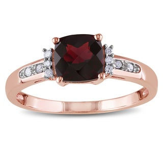 Miadora 10k Rose Gold Garnet and Diamond Accent Cocktail Ring