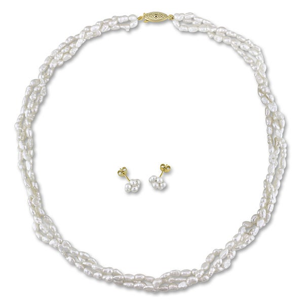 Miadora Gold Tone Two-Piece Set Off-White Cultured Freshwater Pearl Necklace and Earrings (2.5-4 mm)