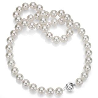 DaVonna Sterling Silver White Freshwater Pearl Necklace (13-15 mm)
