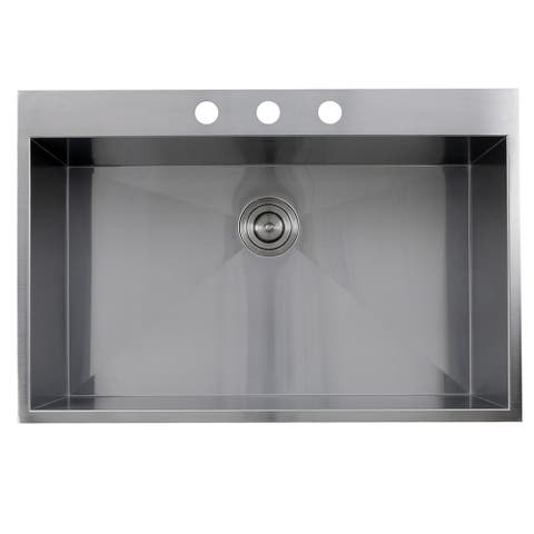 Zero Radius 33-inch 16-gauge Topmount Stainless Steel Kitchen Sink with Drain