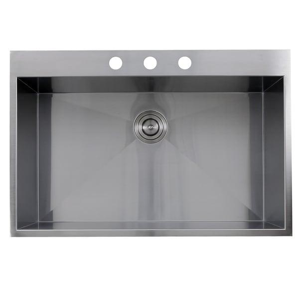 Zero Radius 33 Inch 16 Gauge Topmount Stainless Steel Kitchen Sink With  Drain