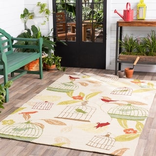 Hand-Hooked Elisha Transitional Floral Indoor/ Outdoor Area Rug (5' x 8')