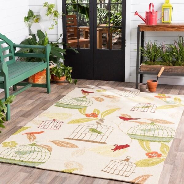 Hand-Hooked Elisha Transitional Floral Indoor/ Outdoor Area Rug - 5' x 8'