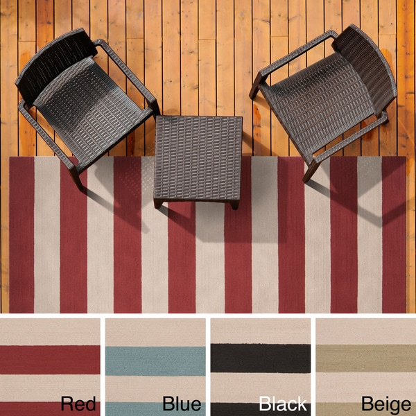 eHand-Hooked Mandy Striped Casual Indoor/ Outdoor Ara Area Rug - 5' x 8'