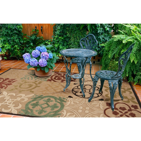 "Ariel Transitional Geometric Indoor/ Outdoor Area Rug - 7'10"" x 10'8""/Surplus"
