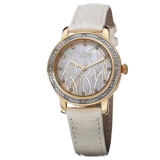 Burgi Women's Quartz Diamond Leather Gold-Tone Strap Watch