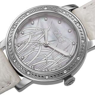 Burgi Women's Quartz Diamond Leather Silver-Tone Strap Watch