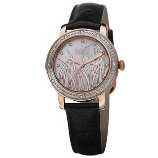Burgi Women's Quartz Diamond Leather Rose-Tone Strap Watch