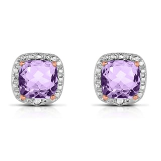 Dolce Giavonna Sterling Silver Diamond Accent Square Amethyst Stud Earrings