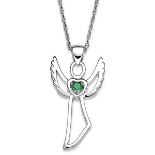 Sterling Silver Genuine Birthstone Angel Necklace (More options available)