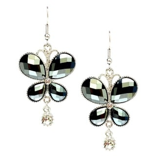 Bleek2Sheek Hematite and Rhinestone Crystal Butterfly Earrings
