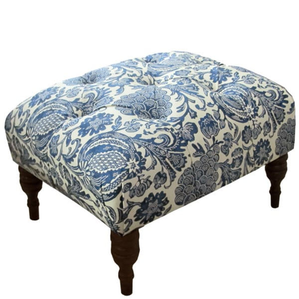 Shop Made To Order Blue Floral Tufted Ottoman Free
