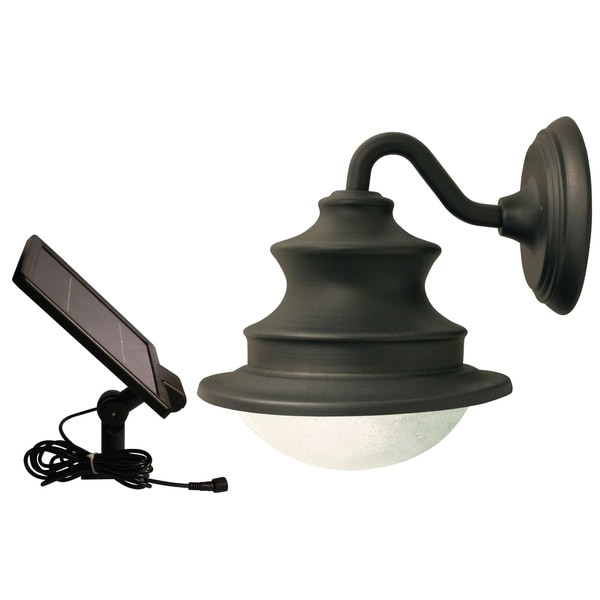 gama sonic gs122 brown wall mount solar barn light with 6 brightwhite