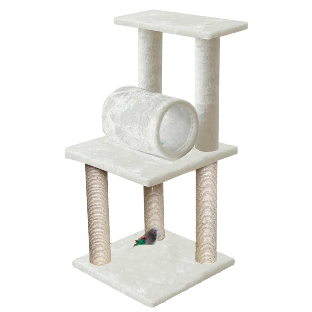 OxGord White 33 Inch Cat Tree Tower Condo Scratching Furn.