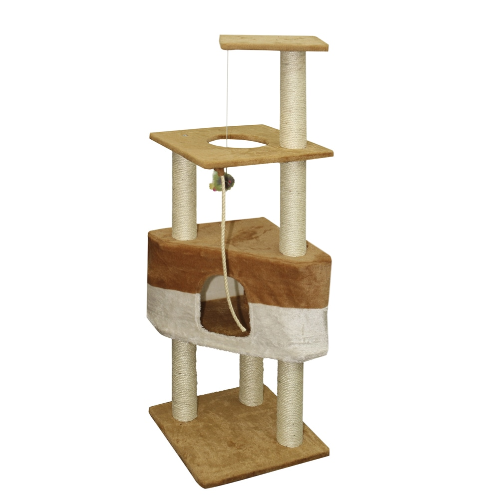OxGord Brown 50-inch Cat Tree Tower Condo Scratching Furn...