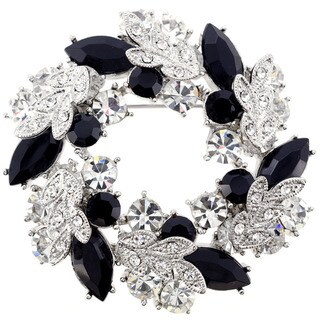 Jet Silver Wreath Pin Brooch and Pendant