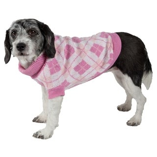 Pink Argyle Ribbed Fashion Pet Sweater