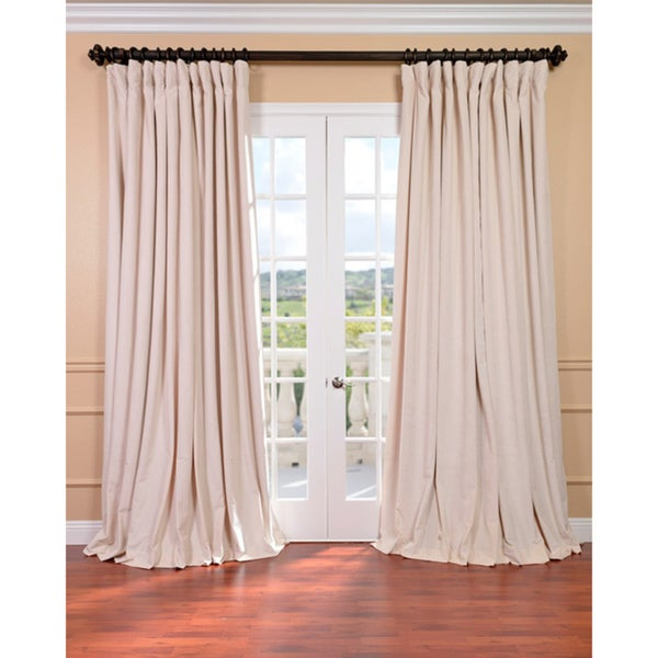exclusive fabrics ivory velvet blackout extra wide curtain panel ivory 100 x 96 as is item. Black Bedroom Furniture Sets. Home Design Ideas