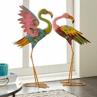 Set of 2 Coastal Pink Metal Flamingo Sculptures by Studio 350