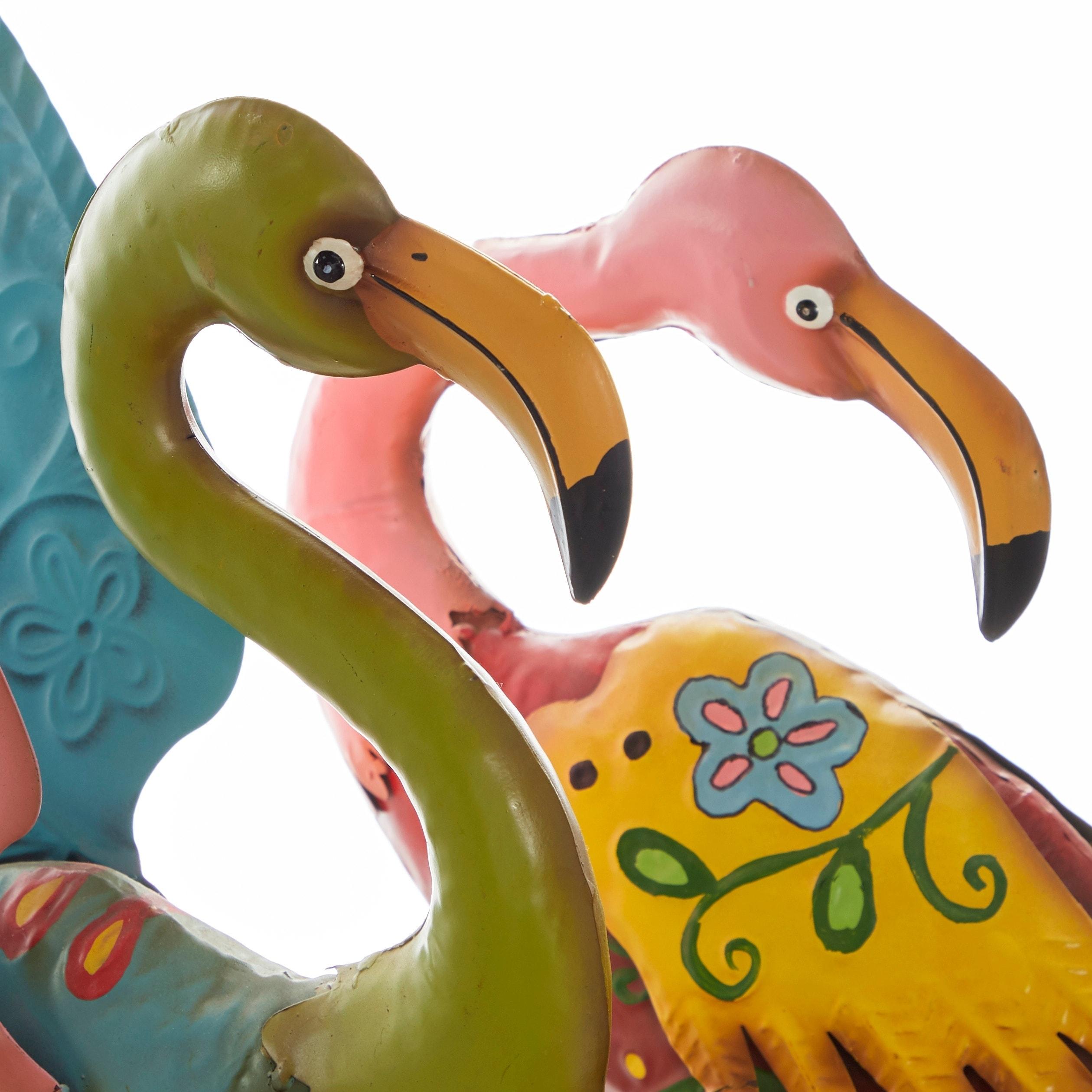 Set Of 2 Coastal Pink Metal Flamingo Sculptures By Studio 350 Overstock 9118469