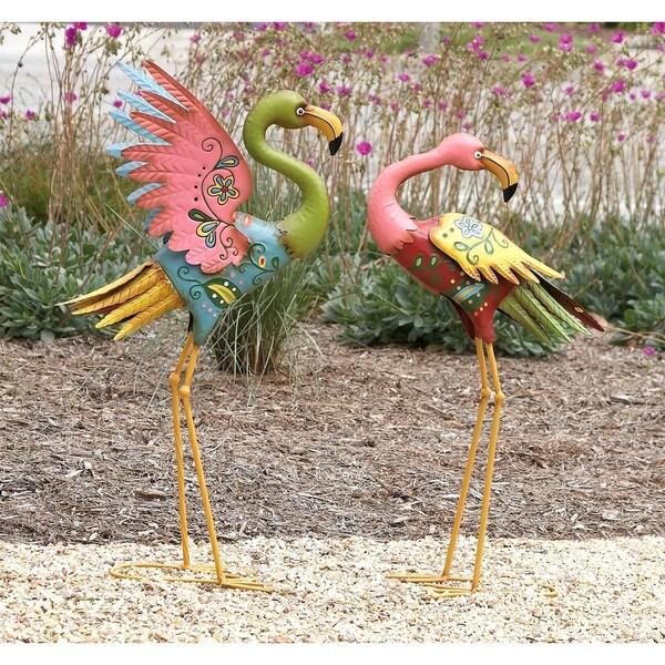 Set of 2 Coastal Pink Metal Flamingo Sculptures by Studio 350
