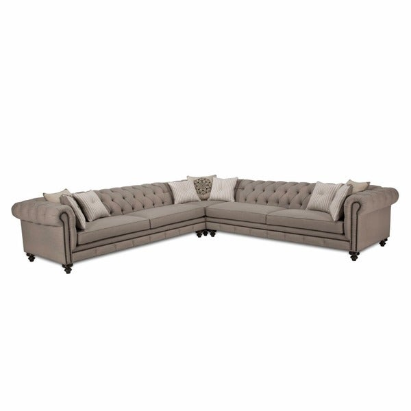 JAR Design Alphonse Grey Tufted Sectional  sc 1 st  Overstock.com : gray tufted sectional - Sectionals, Sofas & Couches