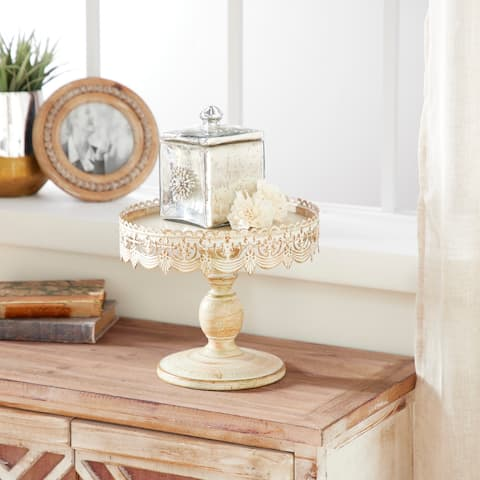 Rustic 9 Inch Iron Cake Stand with Lace-Inspired Rim by Studio 350 - White