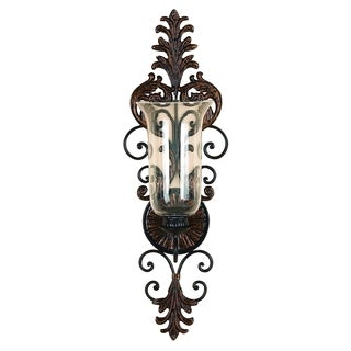 Metal and Glass Candle Sconce