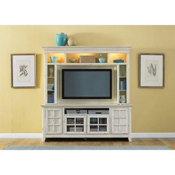 Distressed Cream Cottage 2-piece Entertainment Center