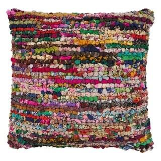 "LR Home Motley Chindi Multi Stripe Floor Pillow ( 26"" x 26"" )"