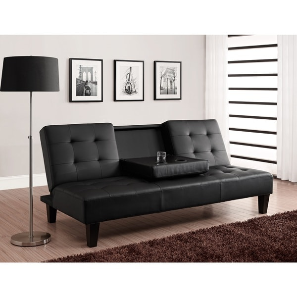 DHP Julia Cup Holder Convertible Futon Sofa Bed Free