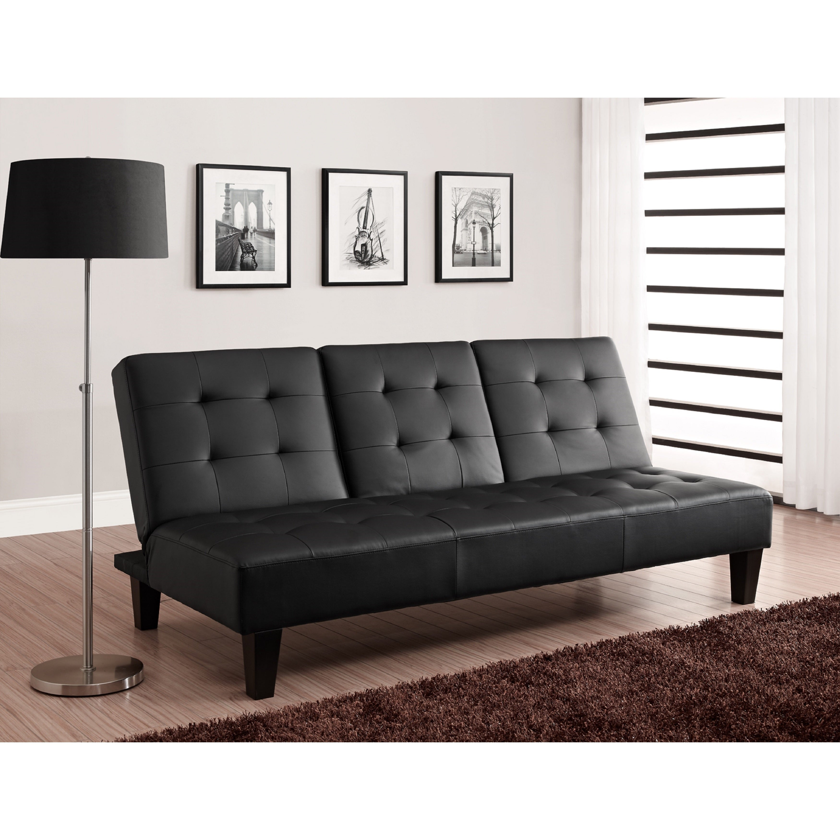 Cup Holder Convertible Futon Sofa Bed