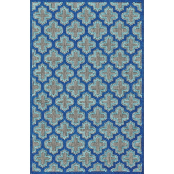 "Grand Bazaar Power Loomed Polypropylene Marne Rug in Black/Navy 5' X 7'-6"" - 5' x 7'6"""
