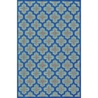 Grand Bazaar Power Loomed Polypropylene Marne Rug in Black/Navy 5' X 7'-6""