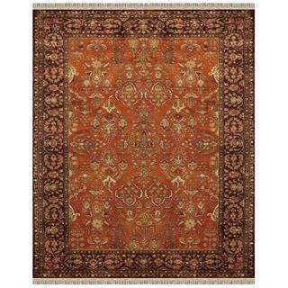 Grand Bazaar Tufted Wool Pile Bower Rug in Cinnamon/ Plum (5' x 8')