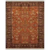 Grand Bazaar Tufted Wool Pile Bower Area Rug in Cinnamon/ Plum (5' x 8')