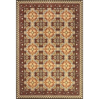 Grand Bazaar Power Loomed Polypropylene Adela Rug in Sand / Terra Cotta 5' X 7'-6""