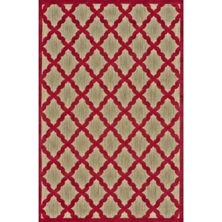 Grand Bazaar Power Loomed Polypropylene Mollia Rug in Tan / Red 5' X 7'-6""