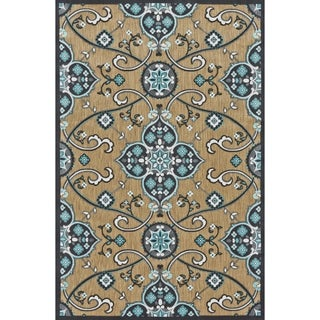 "Grand Bazaar Power Loomed Polypropylene Marne Rug in Tan / Charcoal 5' X 7'-6"" - 5' x 7'6"""