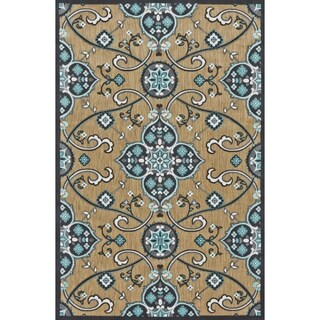 Grand Bazaar Power Loomed Polypropylene Marne Rug in Tan / Charcoal 5' X 7'-6""