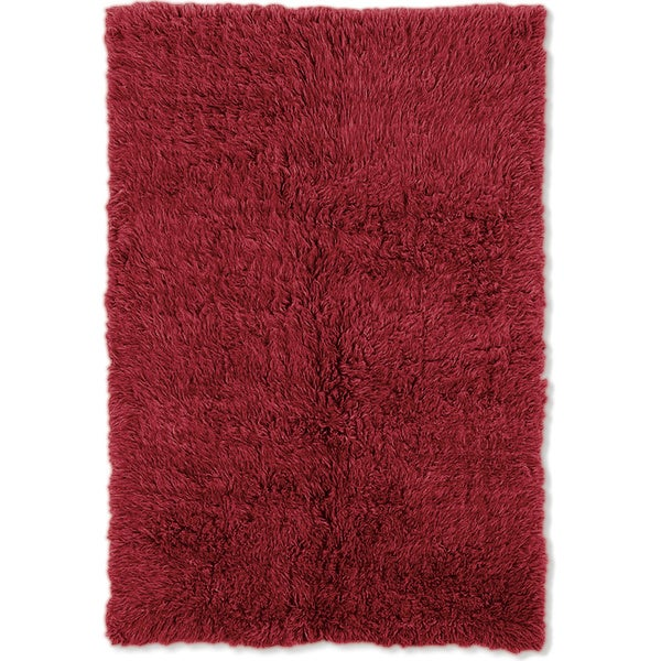 Linon Flokati Super Heavy Red Area Rug (9' x 12') - 9' x 12'