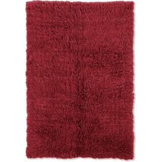 Linon Flokati Super Heavy Red Area Rug (7' x 10') - 7' x 10'
