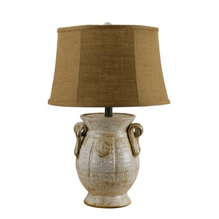 Somette Handcrafted ivory Ceramic Lamp with Burlap Shade