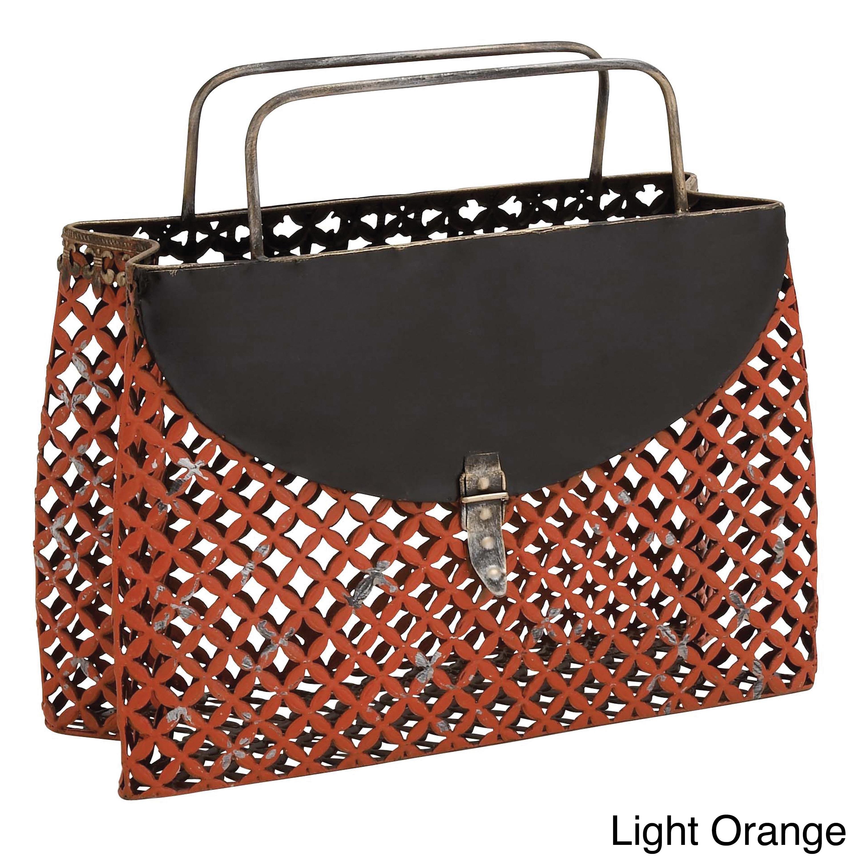 Casa Cortes Purse Style Metal Magazine Holder (Light Orange)